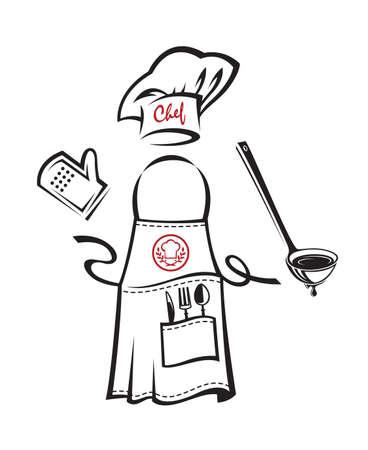 chef apron design with kitchenware Illustration