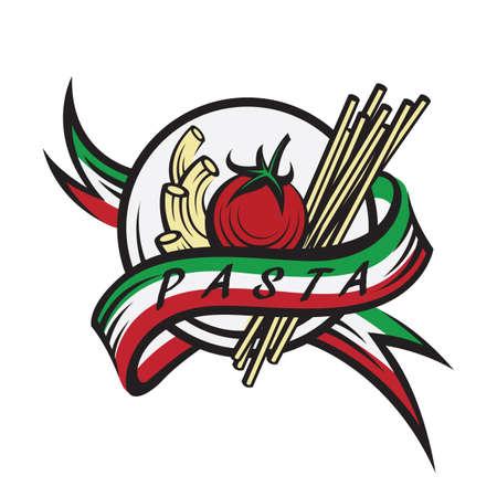 restaurante italiano: banner de pasta italiana con la cinta Vectores
