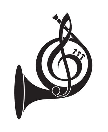 monochrome icon of french horn and treble clef Vectores