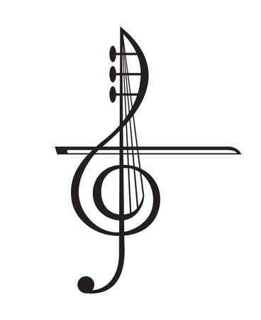 chiave di violino: illustrazione in bianco e nero di violino e chiave di violino Vettoriali