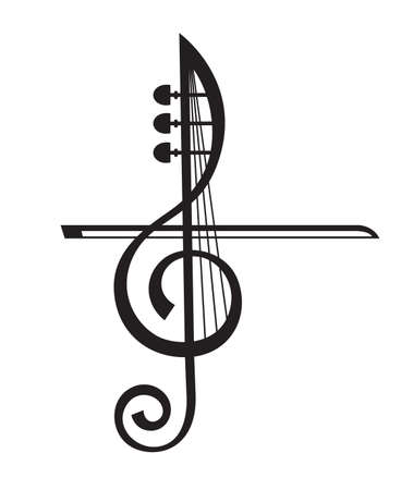 monochrome illustration of violin and treble clef