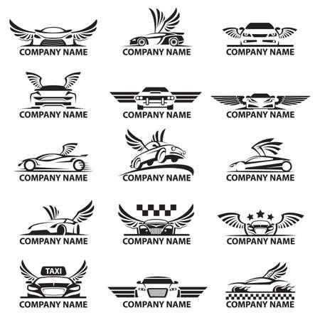 colección de logotipos de coches con alas