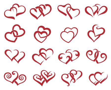 collectie van zestien iconen van de harten