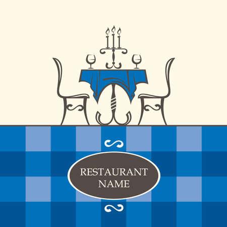 logos restaurantes: Diseño del menú del restaurante con mesa y sillas