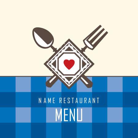 Restaurant menu design con cucchiaio e forchetta