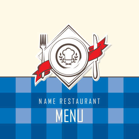 restaurant menu design with dish, knife and fork