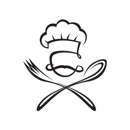 spoon fork: black illustration of spoon, fork and chef