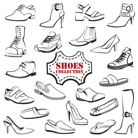 clogs: collection of various mens and womens shoes Illustration