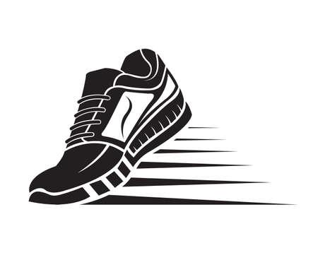 speeding running sport schoenpictogram Vector Illustratie