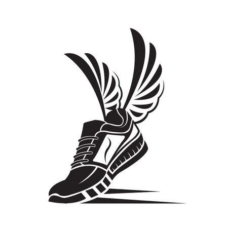 speeding running sport shoe icon Vector Illustration