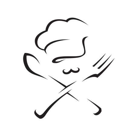 Zwarte illustratie van lepel, vork en chef-kok