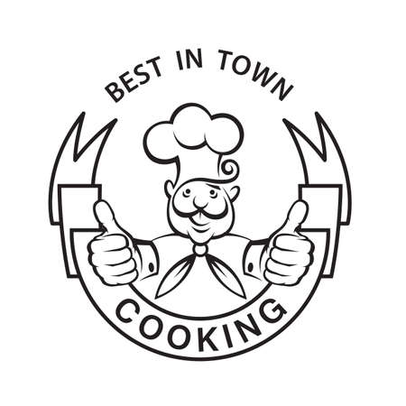good food: monochrome image of chef with ribbon Illustration