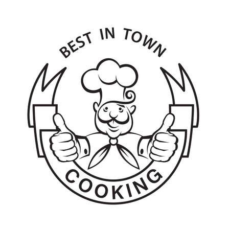 comida rica: monocromo imagen de chef con la cinta
