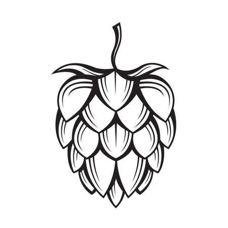 black illustration of hop for brewing