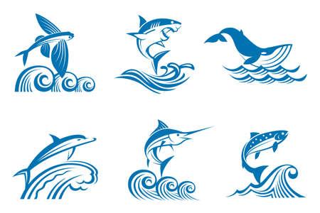 logo poisson: collection de poissons et de mammifères marins sur les ondes Illustration