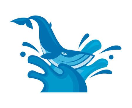 illustration of whale on marine waves