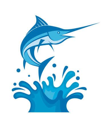 logo poisson: illustration de l'espadon sur les ondes marines