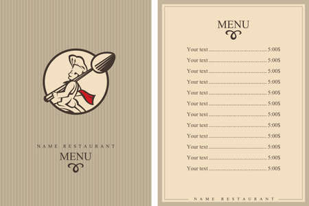 yummy: restaurant menu design with whiskered cook and spoon