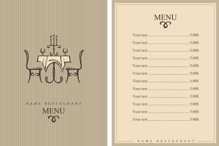 테이블과 의자가 레스토랑 메뉴 디자인