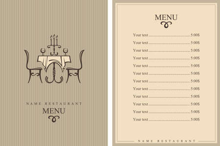 tablecloth: restaurant menu design with table and chairs