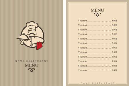 logos restaurantes: El diseño del menú con el cocinero de bigotes y la placa Vectores