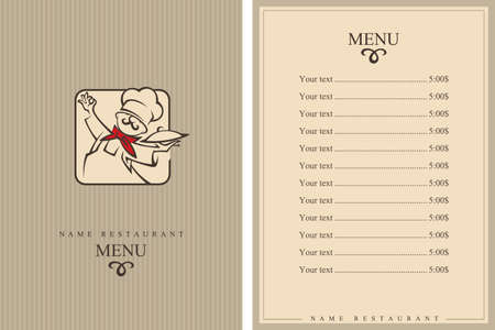 plate: menu design with whiskered cook and plate