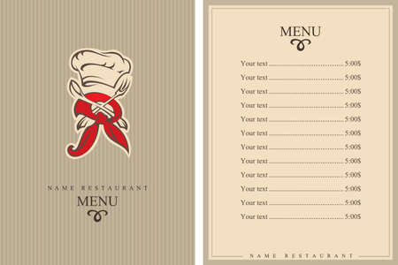banquet table: restaurant menu design with hat, fork and spoon