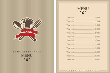 shiny background: restaurant menu design with hat, fork and spoon