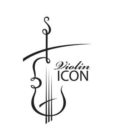 astratto illustrazione in bianco e nero di violino con il testo