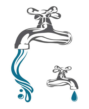 translucent: tap with drop and falling water Illustration