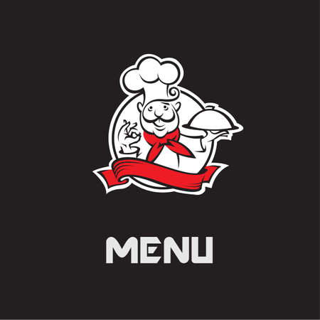 gastronomy: menu design with whiskered cook and plate