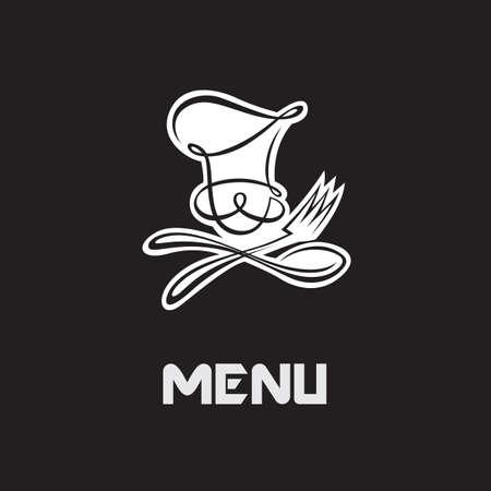 logos restaurantes: El diseño del menú con el cocinero de bigotes y utensilios de cocina