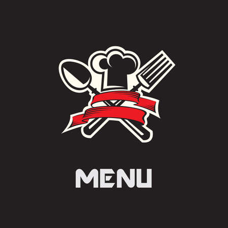 menu design with hat, fork and spoon on black background