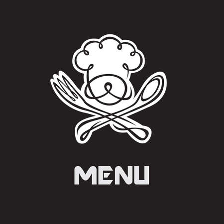 gastronomy: menu design with whiskered cook and kitchenware