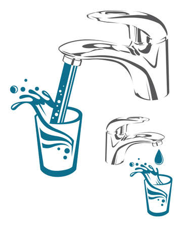 translucent: Image of tap with drop, falling water and glass Illustration