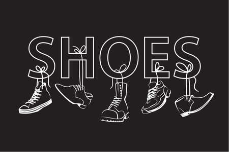 shoelace: illustration with text and hanging on shoelaces shoes