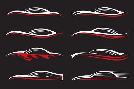 car service: monochrome illustration of various car icons on black background