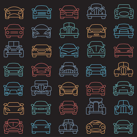 auto service: collection of abstract cars illustrations on black background Illustration