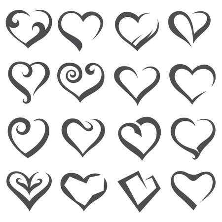 seduce: monochrome collection of various icons of hearts