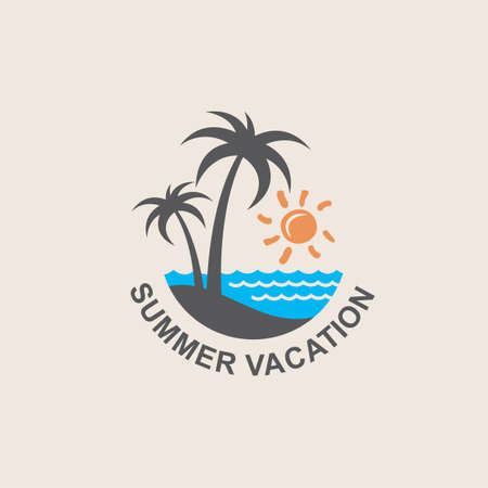 palm: illustration of label with palm tree silhouette on island Illustration