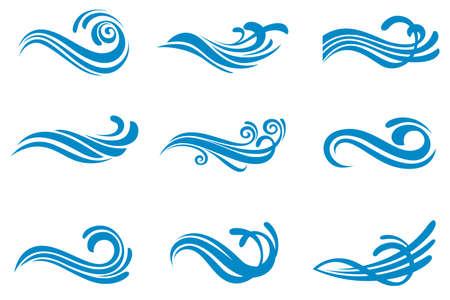 collectie met abstracte symbolen van blauwe water splash