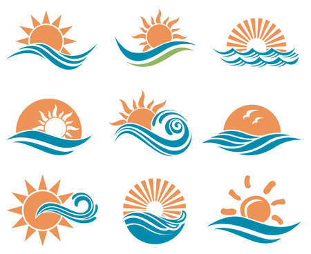 abstract collection of sun and sea icons Çizim