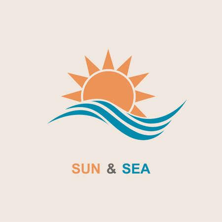 Diseño del extracto del icono del sol y el mar Ilustración de vector