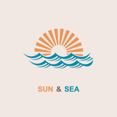 Diseño del extracto del icono del sol y el mar
