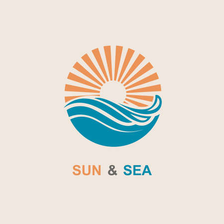 abstract design of sun and sea icon