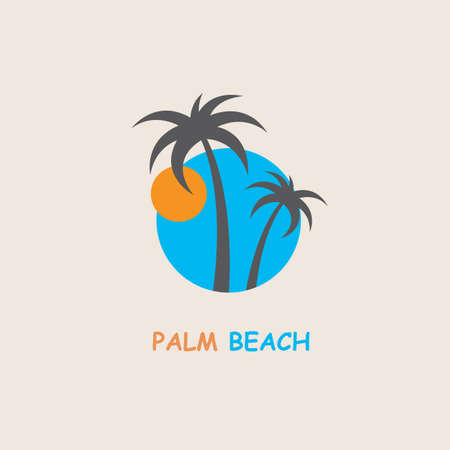 illustration of label with palm tree silhouette on island Illustration