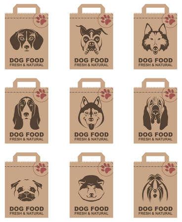 collectie van verschillende voedselpakketten met honden heads