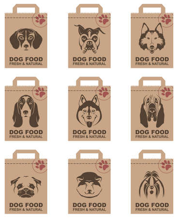collection of various food packages with dogs heads Çizim
