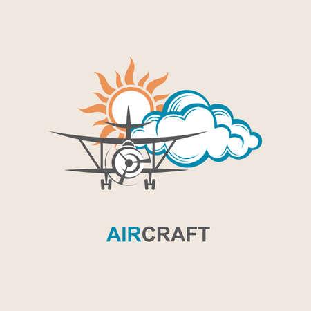 interceptor: image of airplane, sun and cloud Illustration