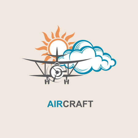 image of airplane, sun and cloud Illustration